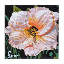 White Hibiscus Tile Coaster