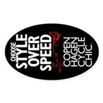 Style Over Speed Oval Sticker