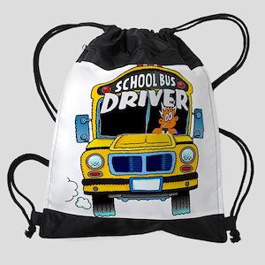 school bus driver Drawstring Bag
