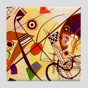 Kandinsky Red Blue Yellow Abstract Tile Coaster