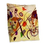 Kandinsky Red Blue Yellow Abstract Burlap Throw Pi