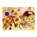 Kandinsky Red Blue Yellow Abstract 5'x7'Area Rug