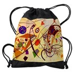 Kandinsky Red Blue Yellow Abstract Drawstring Bag