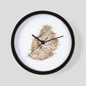 Mauritius map 2 Wall Clock
