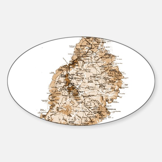 Mauritius map 2 Oval Decal