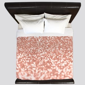 Rose Gold Faux Glitter King Duvet