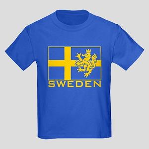 Sweden Flag Kids Dark T-Shirt