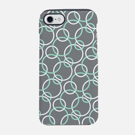 Mint White Gray Circles iPhone 8/7 Tough Case
