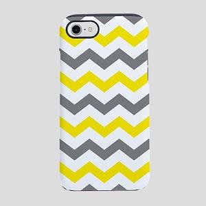 Yellow and Gray Chevron Patt iPhone 8/7 Tough Case