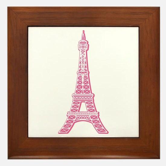 Pink Eiffel Tower Framed Tile