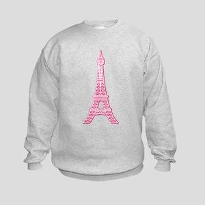 Pink Eiffel Tower Kids Sweatshirt