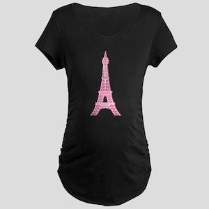 Pink Eiffel Tower Maternity Dark T-Shirt