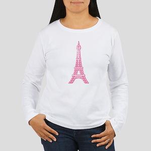 Pink Eiffel Tower Women's Long Sleeve T-Shirt