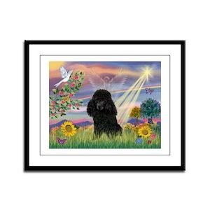 Cloud Angel & Poodle (#2) Framed Panel Print