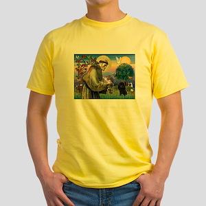St. Francis & Black Poodle #2 Yellow T-Shirt