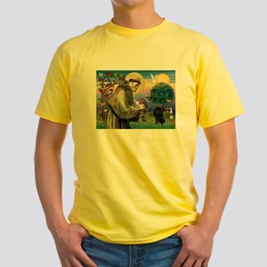 St. Francis & Black Poodle #2 Yellow T-Shirt