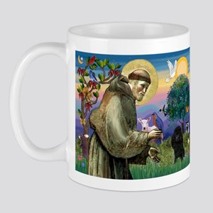 St. Francis & Black Poodle #2 Mug