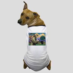 St. Francis & Black Poodle #2 Dog T-Shirt