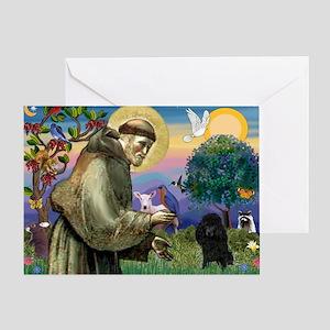 St. Francis & Black Poodle #2 Greeting Card