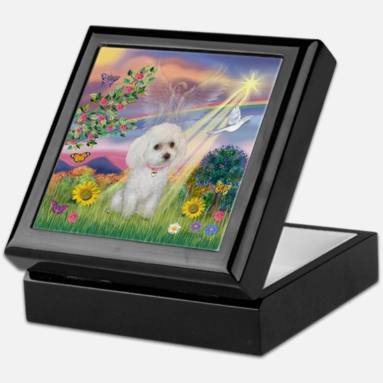 Cloud Angel & White Poodle Keepsake Box