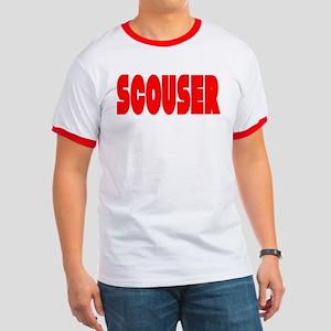 Scouser Red Letters Ringer T