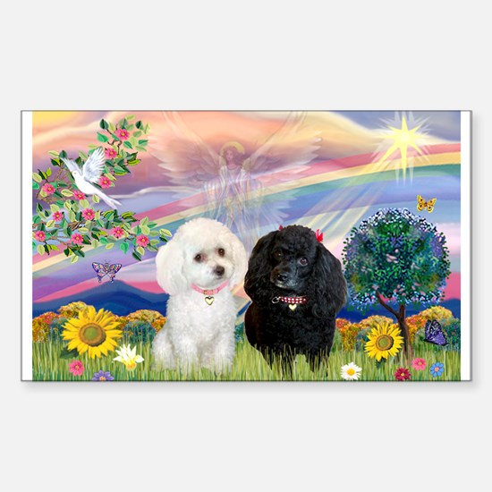 Cloud Angel & 2 Poodles Rectangle Decal