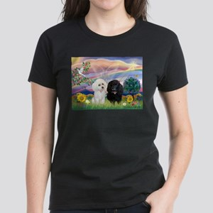 Cloud Angel & 2 Poodles Women's Dark T-Shirt