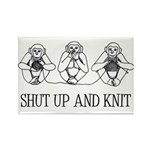 Shut Up and Knit Monkey Rectangle Magnet