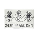 Shut Up and Knit Monkey Rectangle Magnet (10 pack)