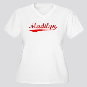 Vintage Madilyn (Red) Women's Plus Size V-Neck T-S