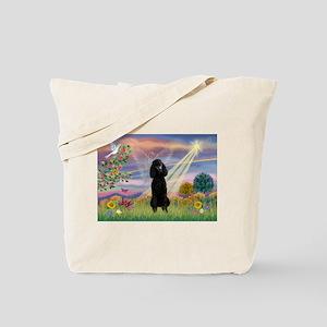 Cloud Angel Black Poodle Tote Bag