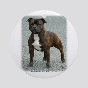 Staffordshire Bull Terrier 9F23-12 Ornament (Round
