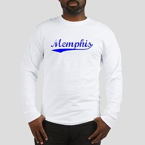 Vintage Memphis (Blue) Long Sleeve T-Shirt