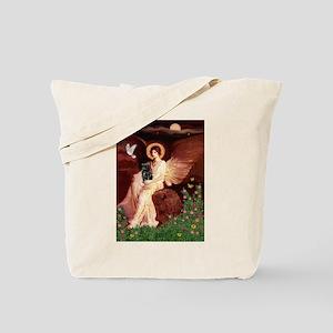 Seated Angel / Pug (blk) Tote Bag