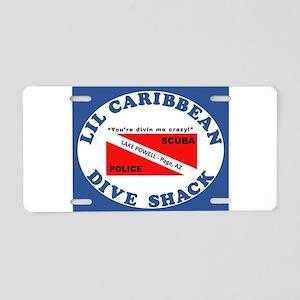 lil caribbean dive shack lo Aluminum License Plate