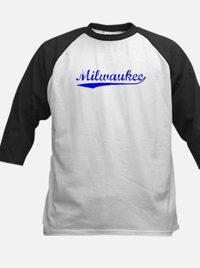 Vintage Milwaukee (Blue) Kids Baseball Jersey