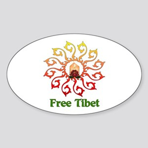 Free Tibet Candle Oval Sticker
