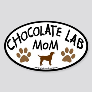 chocolate lab mom oval Oval Sticker