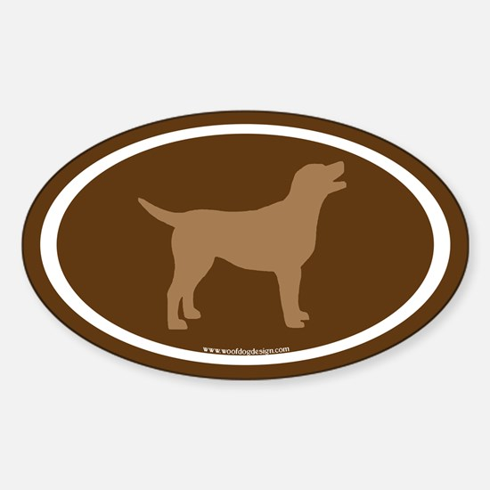 chocolate lab oval (wh/br/brown) Oval Decal