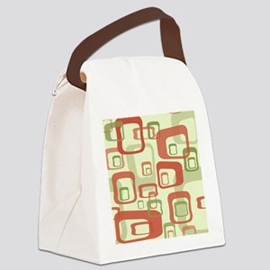 Mid Century Modern in Green and R Canvas Lunch Bag