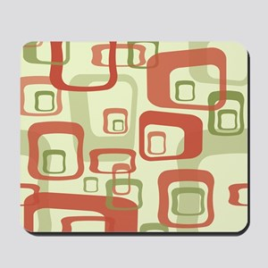 Mid Century Modern in Green and Red Mousepad