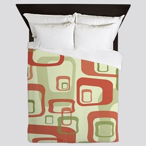 Mid Century Modern in Green and Red Queen Duvet