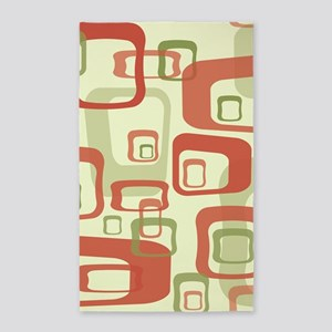 Mid Century Modern in Green and Red Area Rug