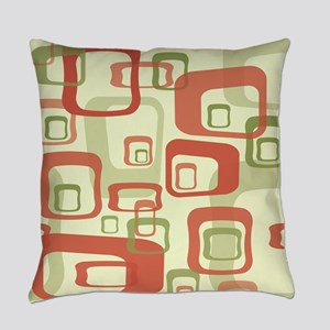 Mid Century Modern in Green and Re Everyday Pillow