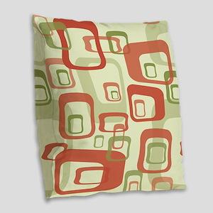 Mid Century Modern in Green an Burlap Throw Pillow
