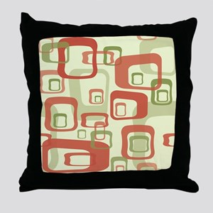Mid Century Modern in Green and Red Throw Pillow