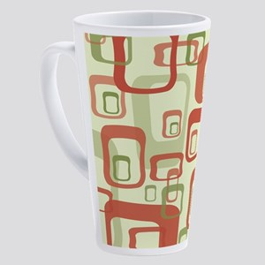 Mid Century Modern in Green and Re 17 oz Latte Mug