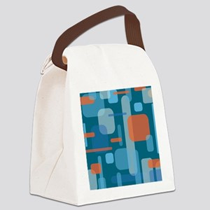Blues and Coral from the Mid Cent Canvas Lunch Bag