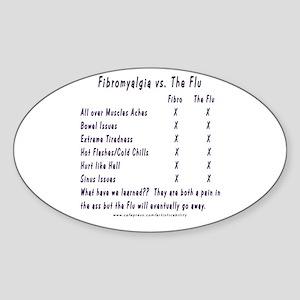 Fibromyalgia vs. The Flu Oval Sticker