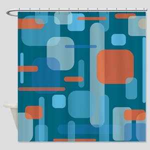 Blues and Coral from the Mid Centur Shower Curtain